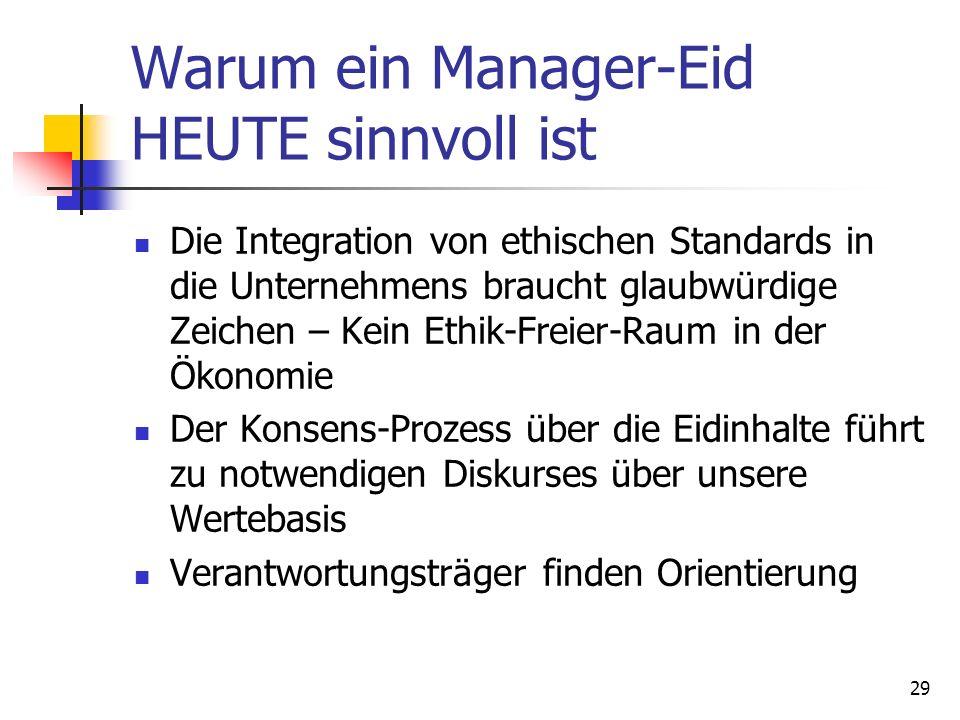 29 Warum ein Manager-Eid HEUTE sinnvoll ist Die Integration von ethischen Standards in die Unternehmens braucht glaubwürdige Zeichen – Kein Ethik-Frei