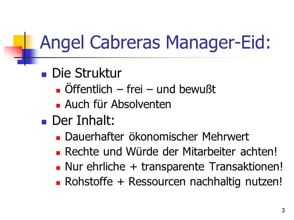 3 Angel Cabreras Manager-Eid: Die Struktur Öffentlich – frei – und bewußt Auch für Absolventen Der Inhalt: Dauerhafter ökonomischer Mehrwert Rechte un