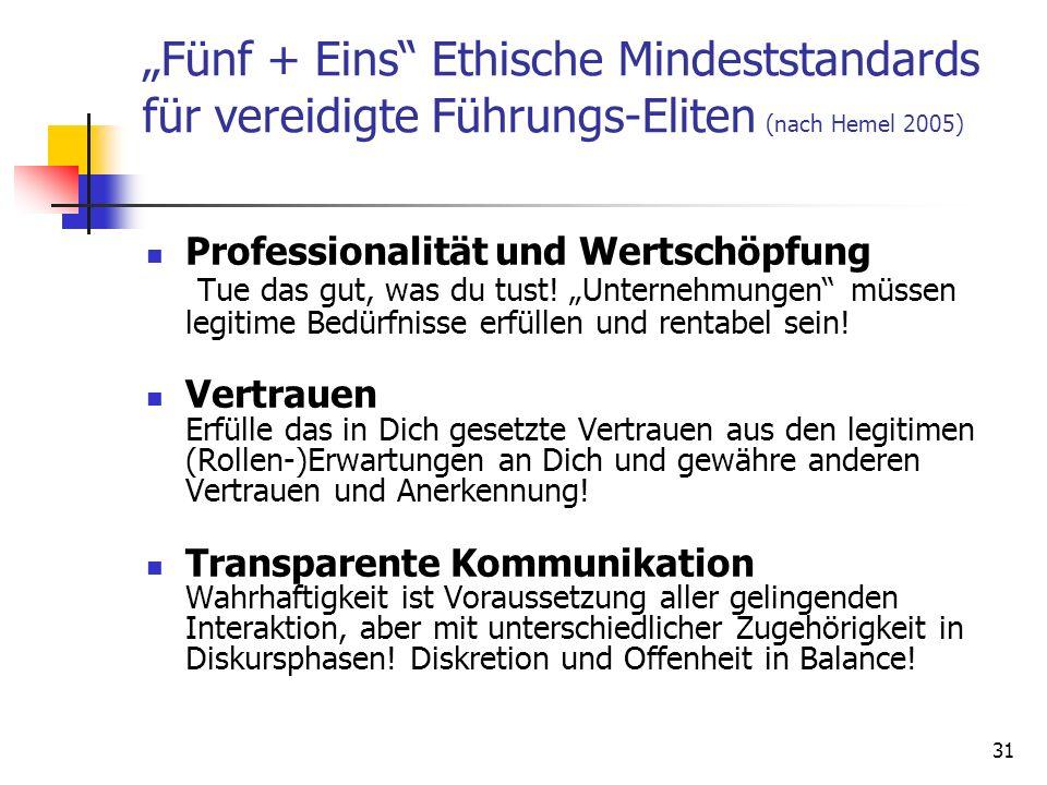 31 Fünf + Eins Ethische Mindeststandards für vereidigte Führungs-Eliten (nach Hemel 2005) Professionalität und Wertschöpfung Tue das gut, was du tust!