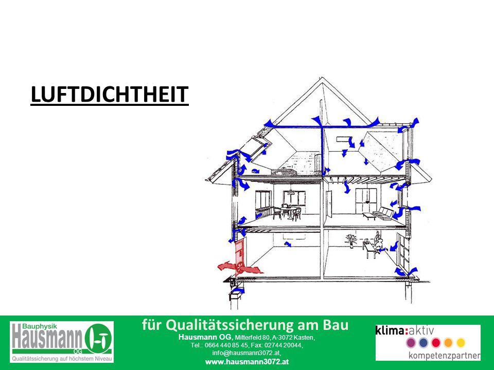 für Qualitätssicherung am Bau Hausmann OG, Mitterfeld 80, A-3072 Kasten, Tel.: 0664 440 85 45, Fax: 02744 20044, info@hausmann3072.at, www.hausmann3072.at Luftdichte Bauweise heißt, dass kein ungewollter Luftaustausch zwischen Innenraum und Außen erfolgt.