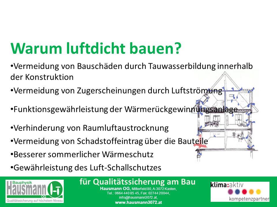 für Qualitätssicherung am Bau Hausmann OG, Mitterfeld 80, A-3072 Kasten, Tel.: 0664 440 85 45, Fax: 02744 20044, info@hausmann3072.at, www.hausmann3072.at Luftdichtheit ist eine Planungsaufgabe.