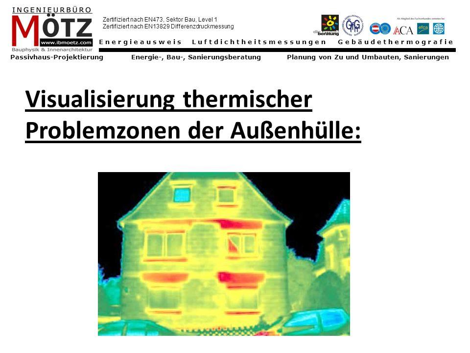 Energieausweis Luftdichtheitsmessungen Gebäudethermografie Passivhaus-Projektierung Energie-, Bau-, Sanierungsberatung Planung von Zu und Umbauten, Sanierungen Zertifiziert nach EN473, Sektor Bau, Level 1 Zertifiziert nach EN13829 Differenzdruckmessung Wärmebrücken Stoffbedingte Wärmebrücken