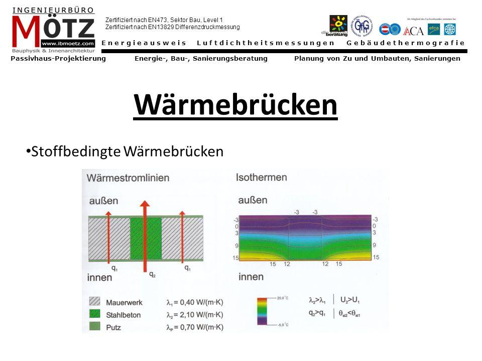 Energieausweis Luftdichtheitsmessungen Gebäudethermografie Passivhaus-Projektierung Energie-, Bau-, Sanierungsberatung Planung von Zu und Umbauten, Sanierungen Zertifiziert nach EN473, Sektor Bau, Level 1 Zertifiziert nach EN13829 Differenzdruckmessung Wärmebrücken geometrische Wärmebrücken