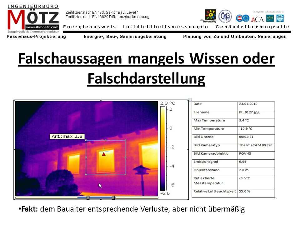 Energieausweis Luftdichtheitsmessungen Gebäudethermografie Passivhaus-Projektierung Energie-, Bau-, Sanierungsberatung Planung von Zu und Umbauten, Sanierungen Zertifiziert nach EN473, Sektor Bau, Level 1 Zertifiziert nach EN13829 Differenzdruckmessung für Qualitätssicherung am Bau Hausmann OG, Mitterfeld 80, A-3072 Kasten, Tel.: 0664 440 85 45, Fax: 02744 20044, info@hausmann3072.at, www.hausmann3072.at Vielen Dank für Ihre Aufmerksamkeit Demonstration