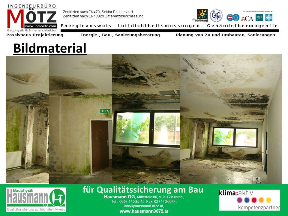 Energieausweis Luftdichtheitsmessungen Gebäudethermografie Passivhaus-Projektierung Energie-, Bau-, Sanierungsberatung Planung von Zu und Umbauten, Sanierungen Zertifiziert nach EN473, Sektor Bau, Level 1 Zertifiziert nach EN13829 Differenzdruckmessung für Qualitätssicherung am Bau Hausmann OG, Mitterfeld 80, A-3072 Kasten, Tel.: 0664 440 85 45, Fax: 02744 20044, info@hausmann3072.at, www.hausmann3072.at Die Frage nach der Ursache Materialfehler mangelnde Sorgfalt Technischer Fortschritt mangelndes Fachwissen Veränderungen in der Nutzung (früher/heute) UNDICHTHEIT GEGEN FEUCHTIGKEIT VON AUSSEN UNDICHTHEIT GEGEN LUFTAUSTRITT VON INNEN