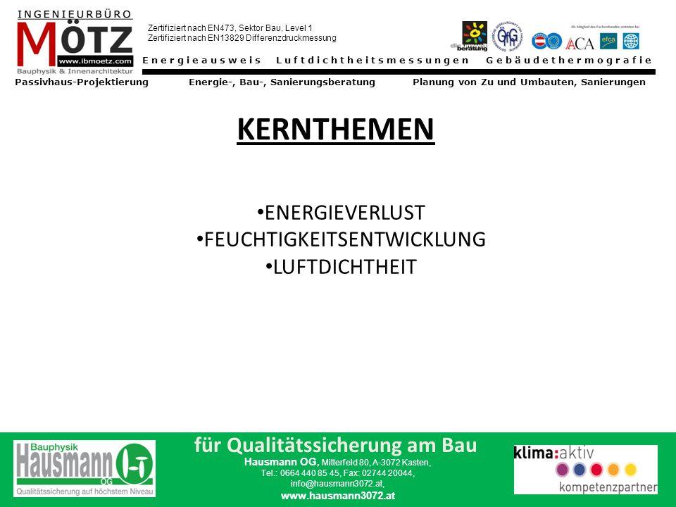Energieausweis Luftdichtheitsmessungen Gebäudethermografie Passivhaus-Projektierung Energie-, Bau-, Sanierungsberatung Planung von Zu und Umbauten, Sanierungen Zertifiziert nach EN473, Sektor Bau, Level 1 Zertifiziert nach EN13829 Differenzdruckmessung für Qualitätssicherung am Bau Hausmann OG, Mitterfeld 80, A-3072 Kasten, Tel.: 0664 440 85 45, Fax: 02744 20044, info@hausmann3072.at, www.hausmann3072.at Früher hatten wir diese Probleme nicht ??.