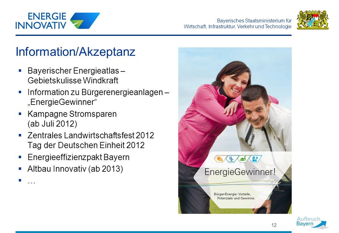 Bayerisches Staatsministerium für Wirtschaft, Infrastruktur, Verkehr und Technologie Information/Akzeptanz Bayerischer Energieatlas – Gebietskulisse W