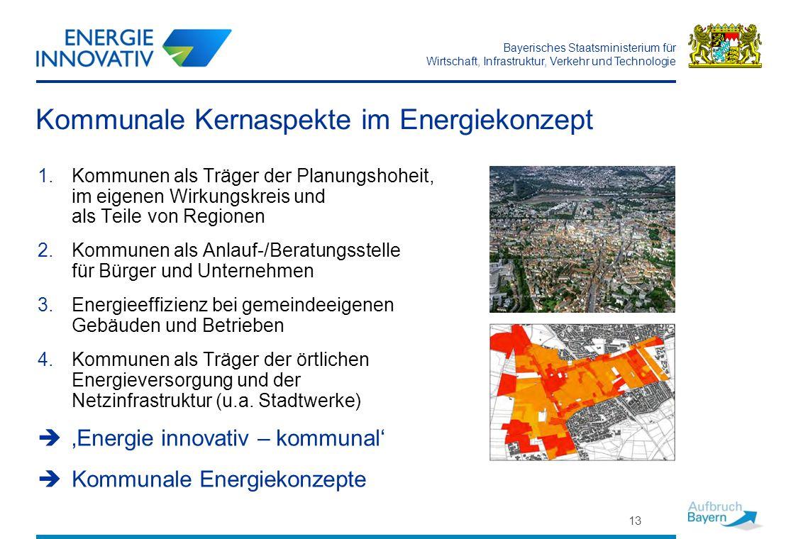 Bayerisches Staatsministerium für Wirtschaft, Infrastruktur, Verkehr und Technologie 13 Kommunale Kernaspekte im Energiekonzept 1.Kommunen als Träger