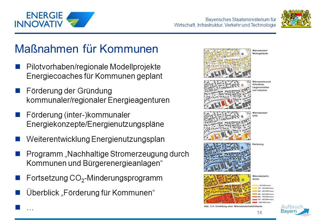 Bayerisches Staatsministerium für Wirtschaft, Infrastruktur, Verkehr und Technologie 14 Maßnahmen für Kommunen Pilotvorhaben/regionale Modellprojekte