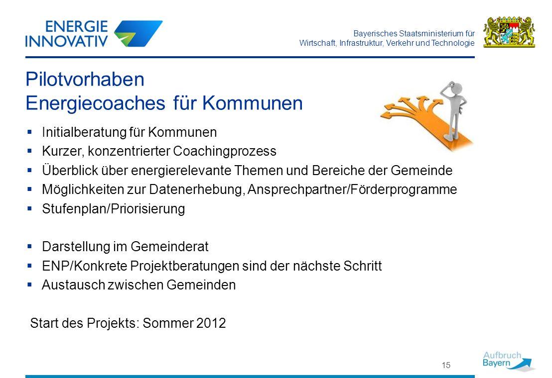 Bayerisches Staatsministerium für Wirtschaft, Infrastruktur, Verkehr und Technologie 15 Pilotvorhaben Energiecoaches für Kommunen Initialberatung für