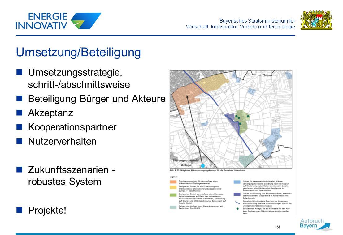 Bayerisches Staatsministerium für Wirtschaft, Infrastruktur, Verkehr und Technologie Umsetzung/Beteiligung Umsetzungsstrategie, schritt-/abschnittswei