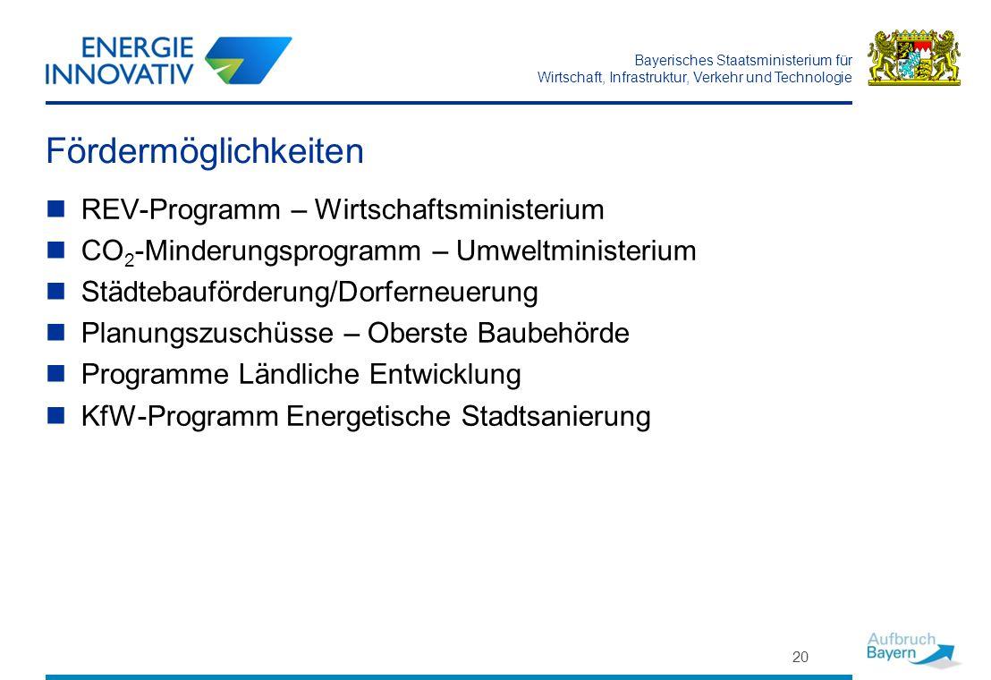 Bayerisches Staatsministerium für Wirtschaft, Infrastruktur, Verkehr und Technologie Fördermöglichkeiten REV-Programm – Wirtschaftsministerium CO 2 -M