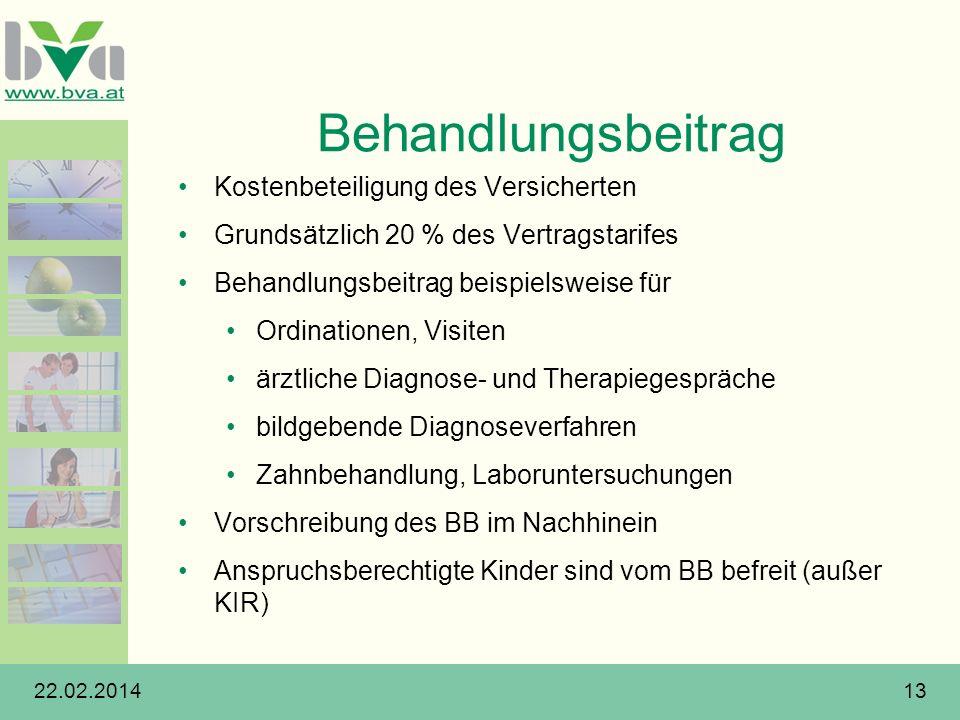 22.02.201413 Behandlungsbeitrag Kostenbeteiligung des Versicherten Grundsätzlich 20 % des Vertragstarifes Behandlungsbeitrag beispielsweise für Ordina