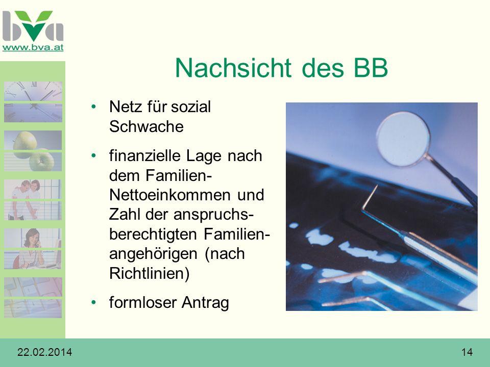 22.02.201414 Nachsicht des BB Netz für sozial Schwache finanzielle Lage nach dem Familien- Nettoeinkommen und Zahl der anspruchs- berechtigten Familie