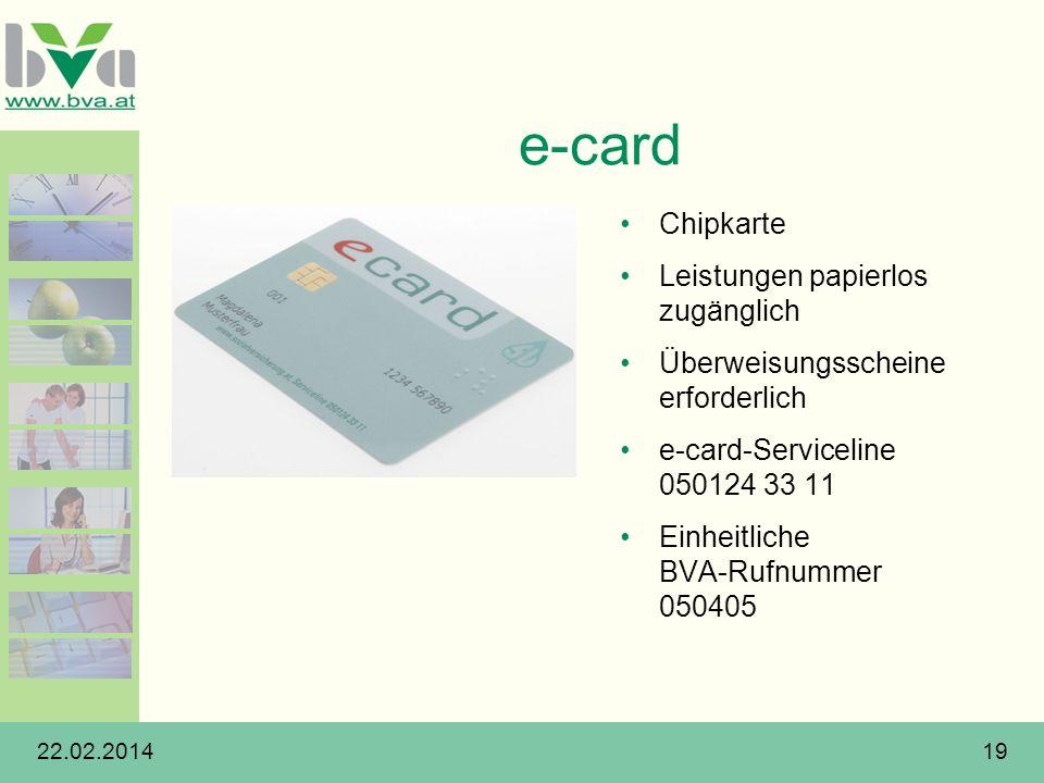 22.02.201419 e-card Chipkarte Leistungen papierlos zugänglich Überweisungsscheine erforderlich e-card-Serviceline 050124 33 11 Einheitliche BVA-Rufnum
