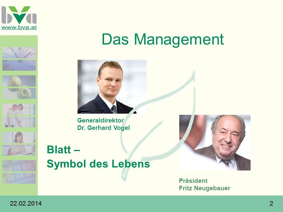 22.02.20142 2 Das Management Präsident Fritz Neugebauer Blatt – Symbol des Lebens Generaldirektor Dr. Gerhard Vogel