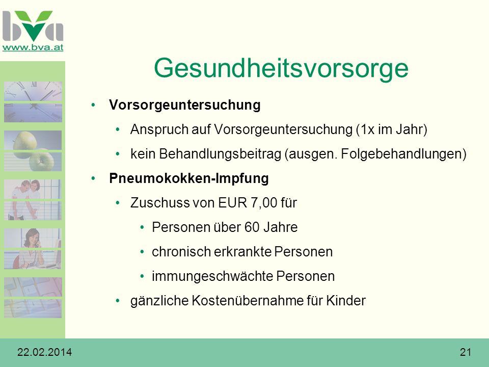 22.02.201421 Gesundheitsvorsorge Vorsorgeuntersuchung Anspruch auf Vorsorgeuntersuchung (1x im Jahr) kein Behandlungsbeitrag (ausgen. Folgebehandlunge