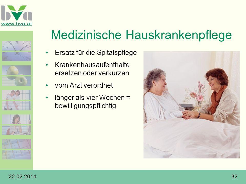 22.02.201432 Medizinische Hauskrankenpflege Ersatz für die Spitalspflege Krankenhausaufenthalte ersetzen oder verkürzen vom Arzt verordnet länger als