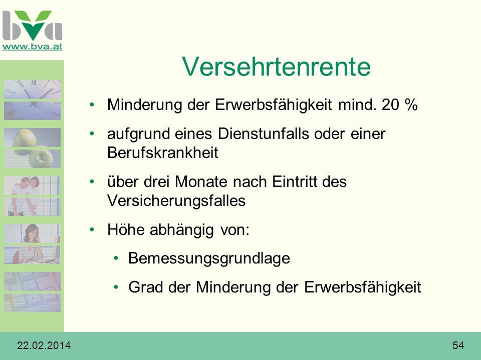 22.02.201454 Versehrtenrente Minderung der Erwerbsfähigkeit mind. 20 % aufgrund eines Dienstunfalls oder einer Berufskrankheit über drei Monate nach E
