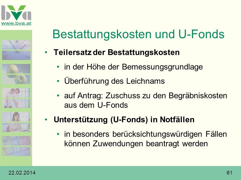 22.02.201461 Bestattungskosten und U-Fonds Teilersatz der Bestattungskosten in der Höhe der Bemessungsgrundlage Überführung des Leichnams auf Antrag: