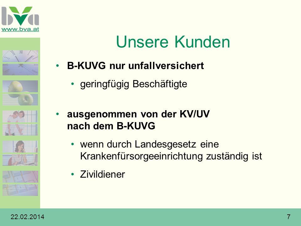 22.02.20147 Unsere Kunden B-KUVG nur unfallversichert geringfügig Beschäftigte ausgenommen von der KV/UV nach dem B-KUVG wenn durch Landesgesetz eine