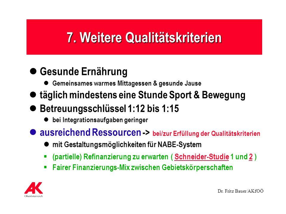 Dr. Fritz Bauer/AKfOÖ 7. Weitere Qualitätskriterien Gesunde Ernährung Gemeinsames warmes Mittagessen & gesunde Jause täglich mindestens eine Stunde Sp