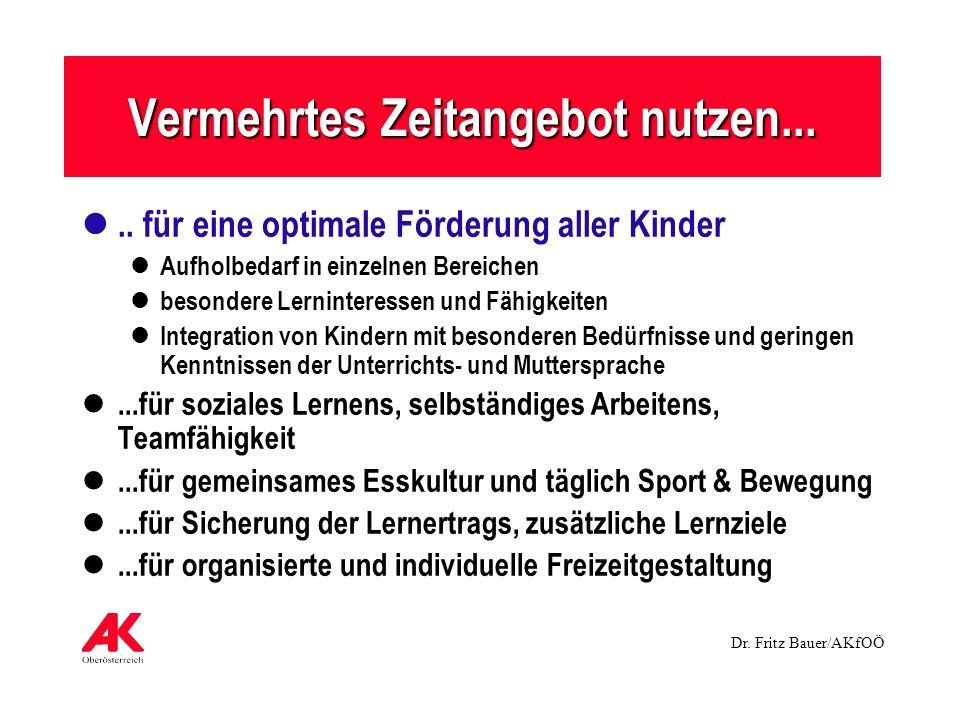 Dr. Fritz Bauer/AKfOÖ Vermehrtes Zeitangebot nutzen..... für eine optimale Förderung aller Kinder Aufholbedarf in einzelnen Bereichen besondere Lernin