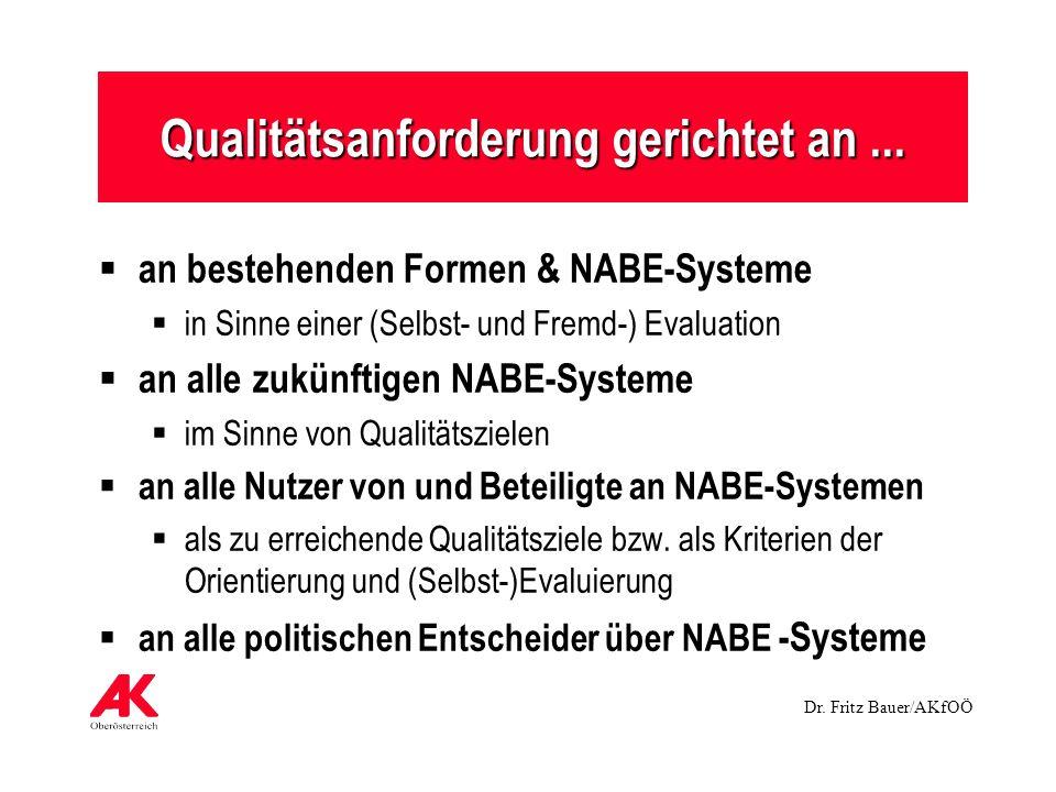 Dr. Fritz Bauer/AKfOÖ Qualitätsanforderung gerichtet an... an bestehenden Formen & NABE-Systeme in Sinne einer (Selbst- und Fremd-) Evaluation an alle