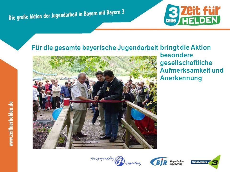 Für die gesamte bayerische Jugendarbeit bringt die Aktion besondere gesellschaftliche Aufmerksamkeit und Anerkennung