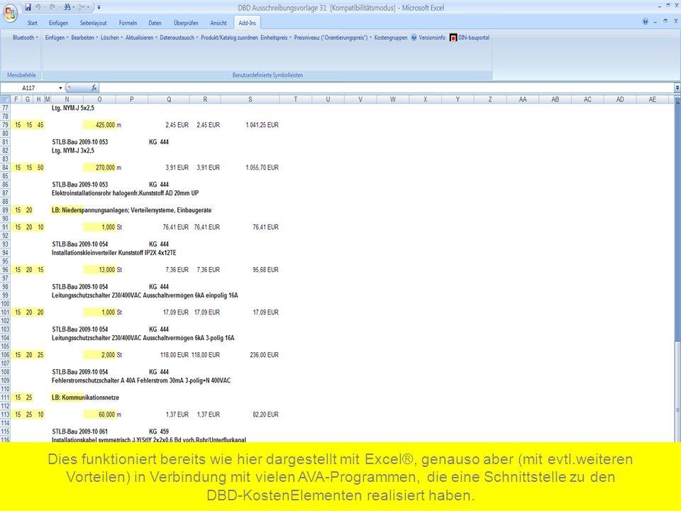 Dies funktioniert bereits wie hier dargestellt mit Excel®, genauso aber (mit evtl.weiteren Vorteilen) in Verbindung mit vielen AVA-Programmen, die eine Schnittstelle zu den DBD-KostenElementen realisiert haben.