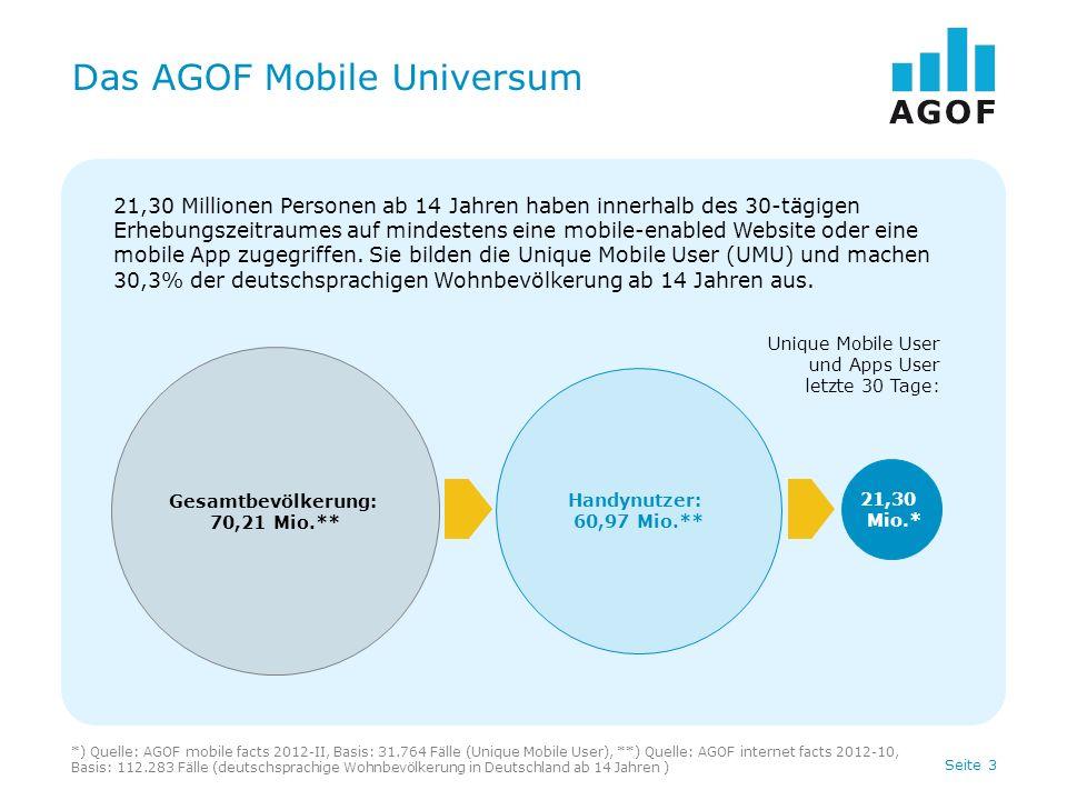 Seite 4 Das AGOF Mobile-Universum Basis: 31.764 Fälle, deutschsprachige Unique Mobile User in Deutschland ab 14 Jahren Quelle: AGOF mobile facts 2012-II Dynamisches Wachstum der Nutzungszahlen im mobilen Web + 55% + 13% + 11%