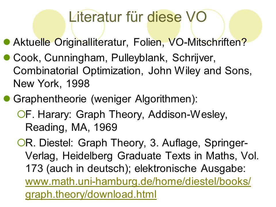 Literatur für diese VO Aktuelle Originalliteratur, Folien, VO-Mitschriften? Cook, Cunningham, Pulleyblank, Schrijver, Combinatorial Optimization, John