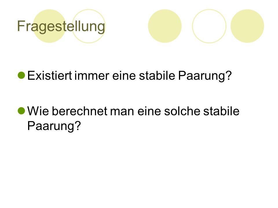 Fragestellung Existiert immer eine stabile Paarung? Wie berechnet man eine solche stabile Paarung?
