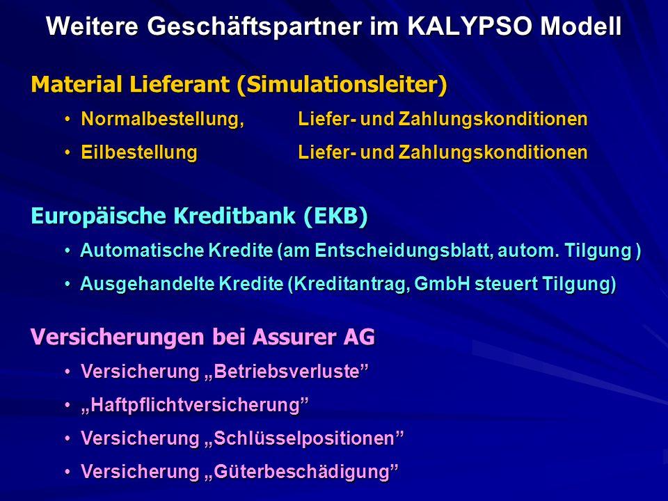 Weitere Geschäftspartner im KALYPSO Modell Material Lieferant (Simulationsleiter) Normalbestellung, Liefer- und Zahlungskonditionen Normalbestellung, Liefer- und Zahlungskonditionen EilbestellungLiefer- und Zahlungskonditionen EilbestellungLiefer- und Zahlungskonditionen Europäische Kreditbank (EKB) Automatische Kredite (am Entscheidungsblatt, autom.