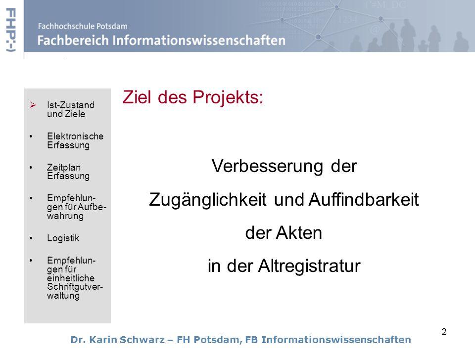 2 Ziel des Projekts: Dr. Karin Schwarz – FH Potsdam, FB Informationswissenschaften Verbesserung der Zugänglichkeit und Auffindbarkeit der Akten in der
