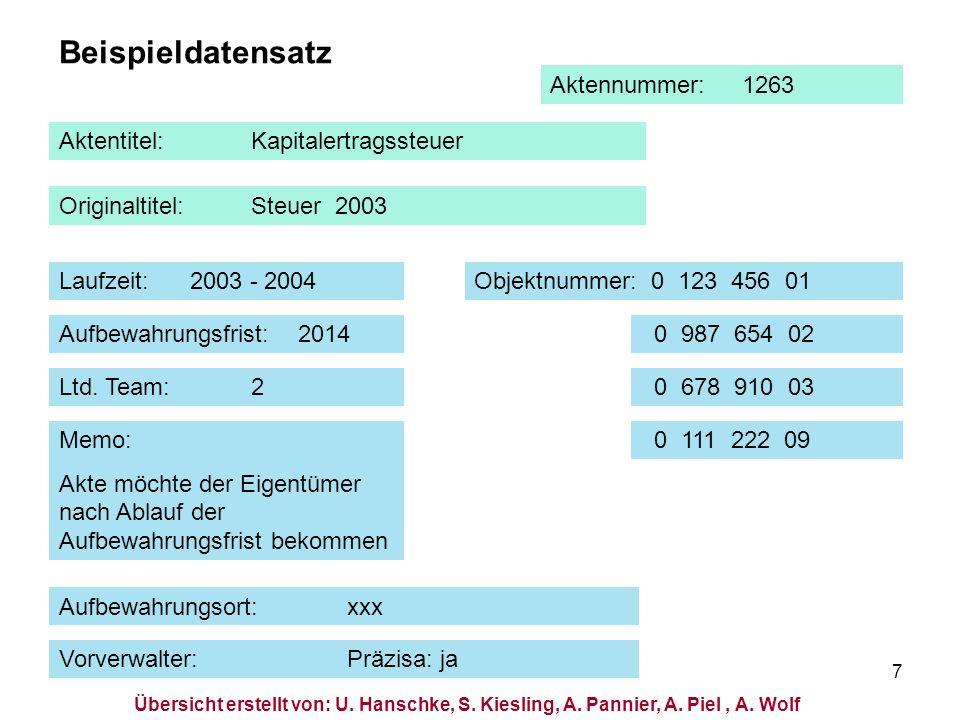 7 Beispieldatensatz Aktentitel:Kapitalertragssteuer Originaltitel:Steuer 2003 Laufzeit: 2003 - 2004Objektnummer: 0 123 456 01 Ltd. Team:2 Aufbewahrung