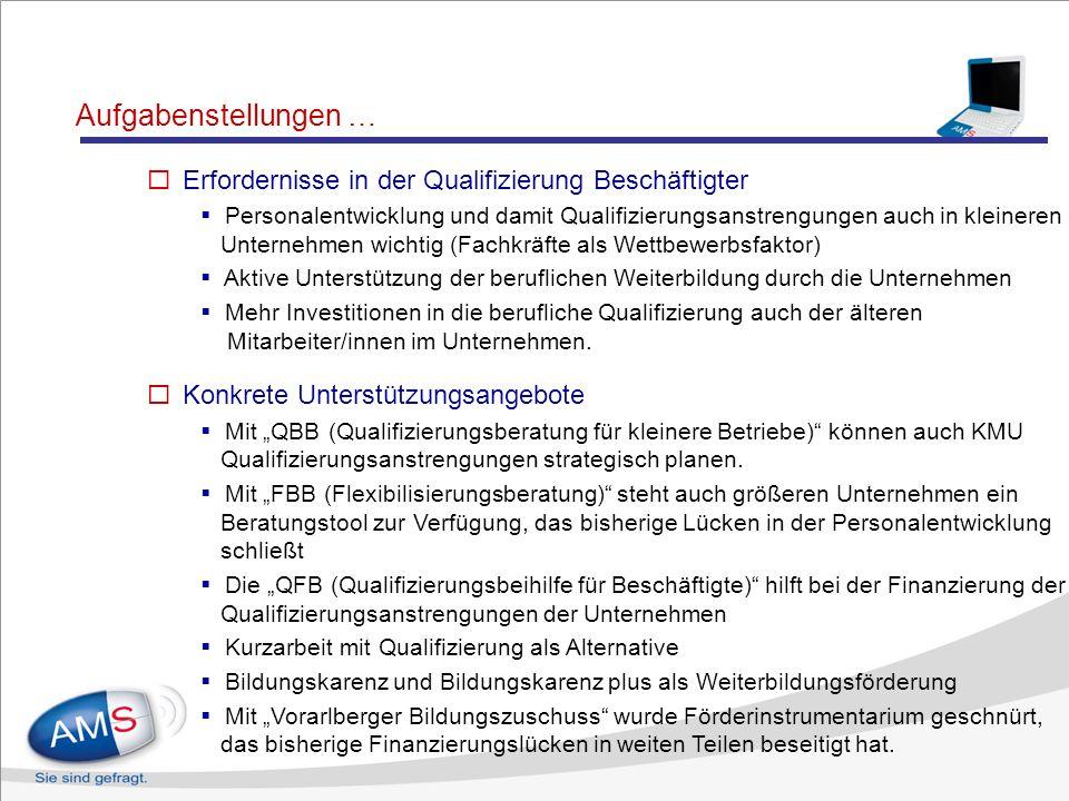 Aufgabenstellungen … Erfordernisse im Bereich der Qualifizierung Arbeitsloser Schaffung von Angeboten zur Verbesserung der Kulturtechniken (Aufarbeitu