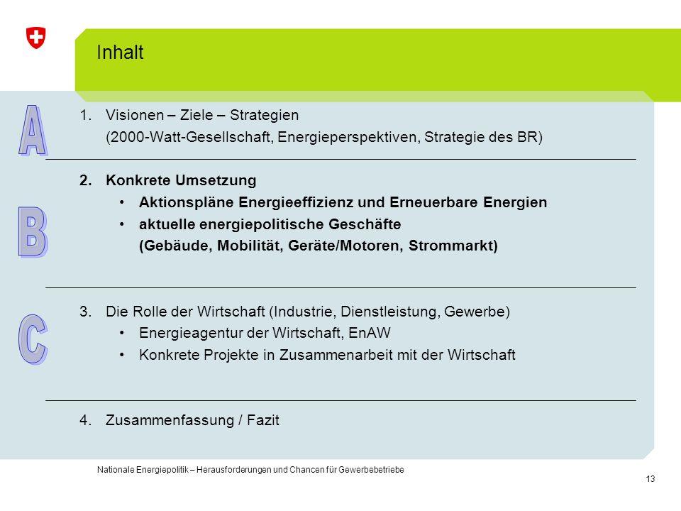 13 Nationale Energiepolitik – Herausforderungen und Chancen für Gewerbebetriebe Inhalt 1.Visionen – Ziele – Strategien (2000-Watt-Gesellschaft, Energi