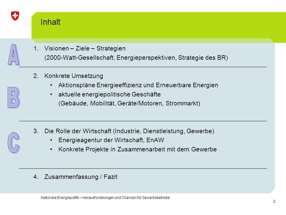 2 Nationale Energiepolitik – Herausforderungen und Chancen für Gewerbebetriebe Inhalt 1.Visionen – Ziele – Strategien (2000-Watt-Gesellschaft, Energie