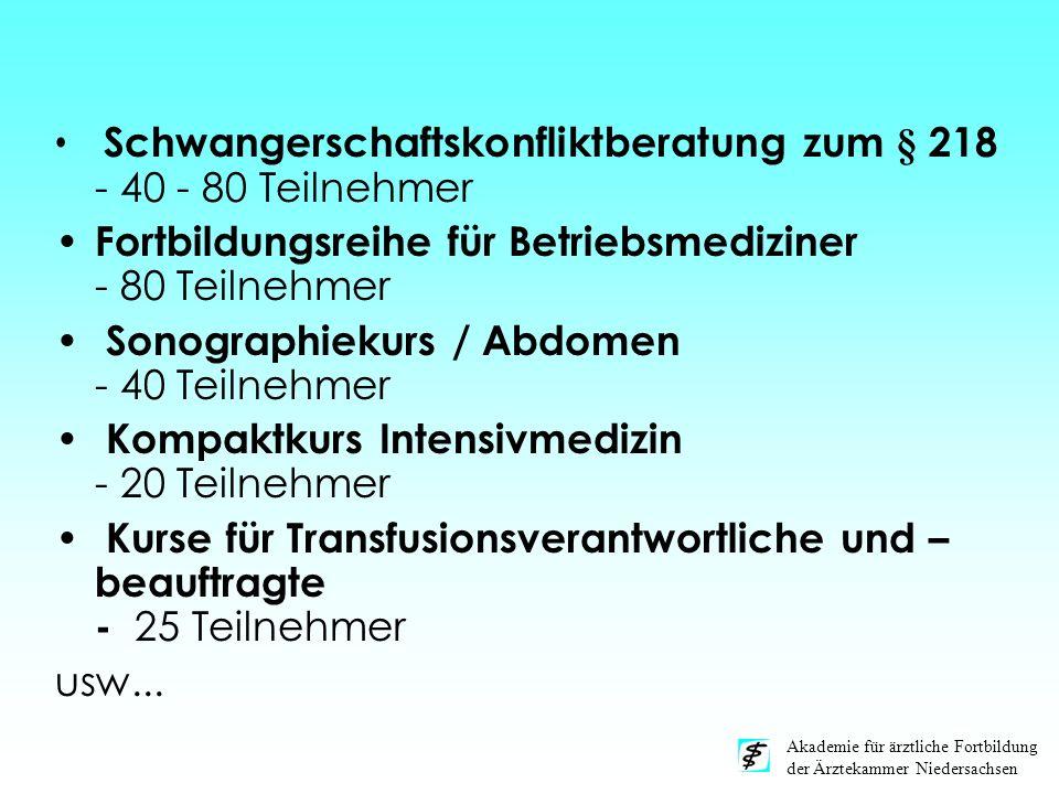 Akademie für ärztliche Fortbildung der Ärztekammer Niedersachsen Schwangerschaftskonfliktberatung zum § 218 - 40 - 80 Teilnehmer Fortbildungsreihe für