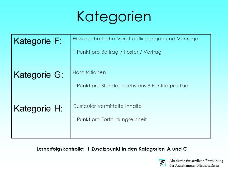 Akademie für ärztliche Fortbildung der Ärztekammer Niedersachsen Kategorien Kategorie F: Wissenschaftliche Veröffentlichungen und Vorträge 1 Punkt pro