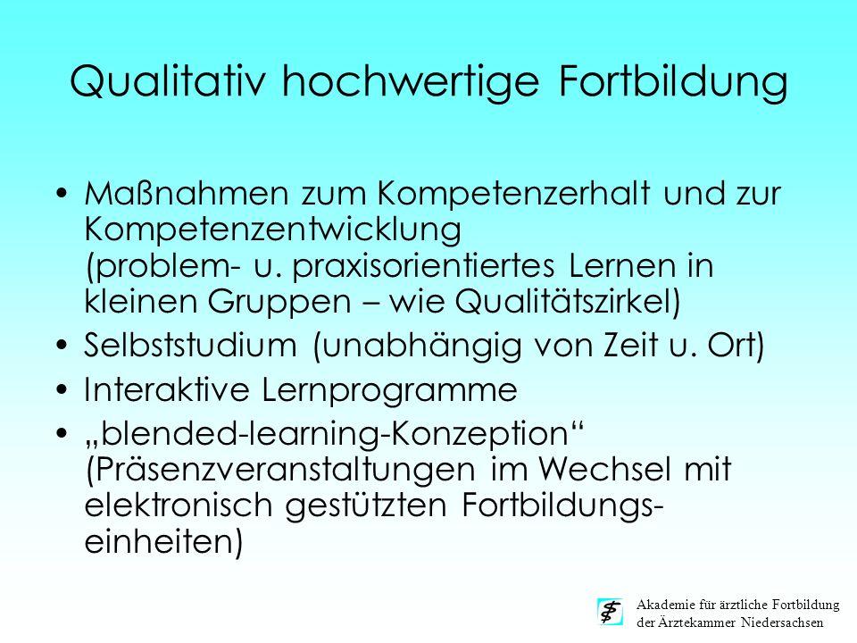 Akademie für ärztliche Fortbildung der Ärztekammer Niedersachsen Qualitativ hochwertige Fortbildung Maßnahmen zum Kompetenzerhalt und zur Kompetenzent