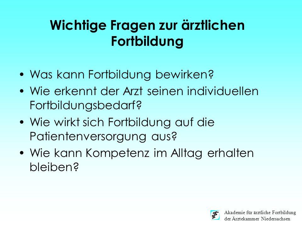 Akademie für ärztliche Fortbildung der Ärztekammer Niedersachsen Was kann Fortbildung bewirken? Wie erkennt der Arzt seinen individuellen Fortbildungs