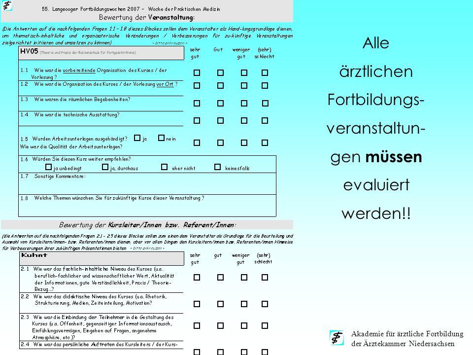 Akademie für ärztliche Fortbildung der Ärztekammer Niedersachsen Alle ärztlichen Fortbildungs- veranstaltun- gen müssen evaluiert werden!!
