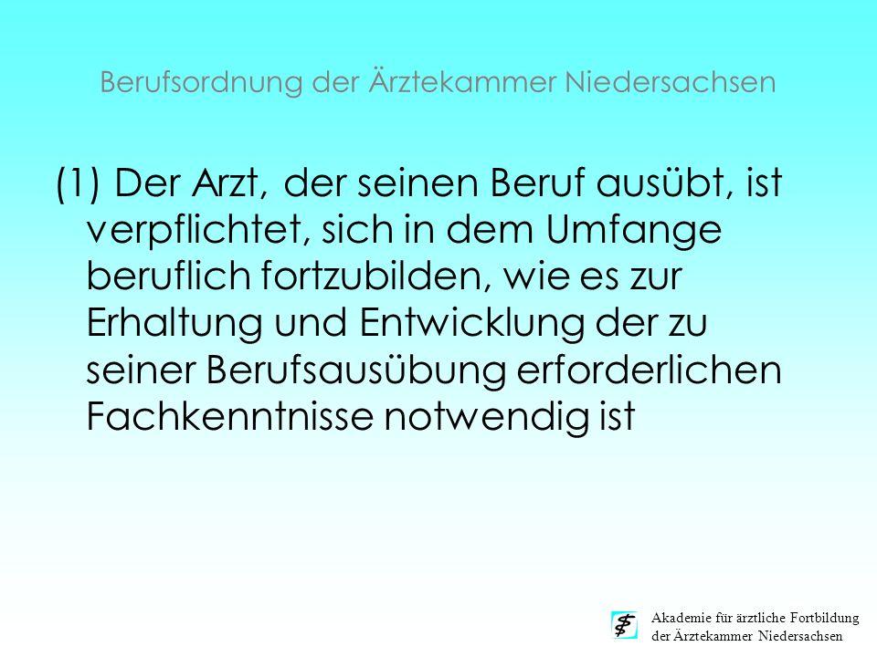 Akademie für ärztliche Fortbildung der Ärztekammer Niedersachsen Berufsordnung der Ärztekammer Niedersachsen (1) Der Arzt, der seinen Beruf ausübt, is
