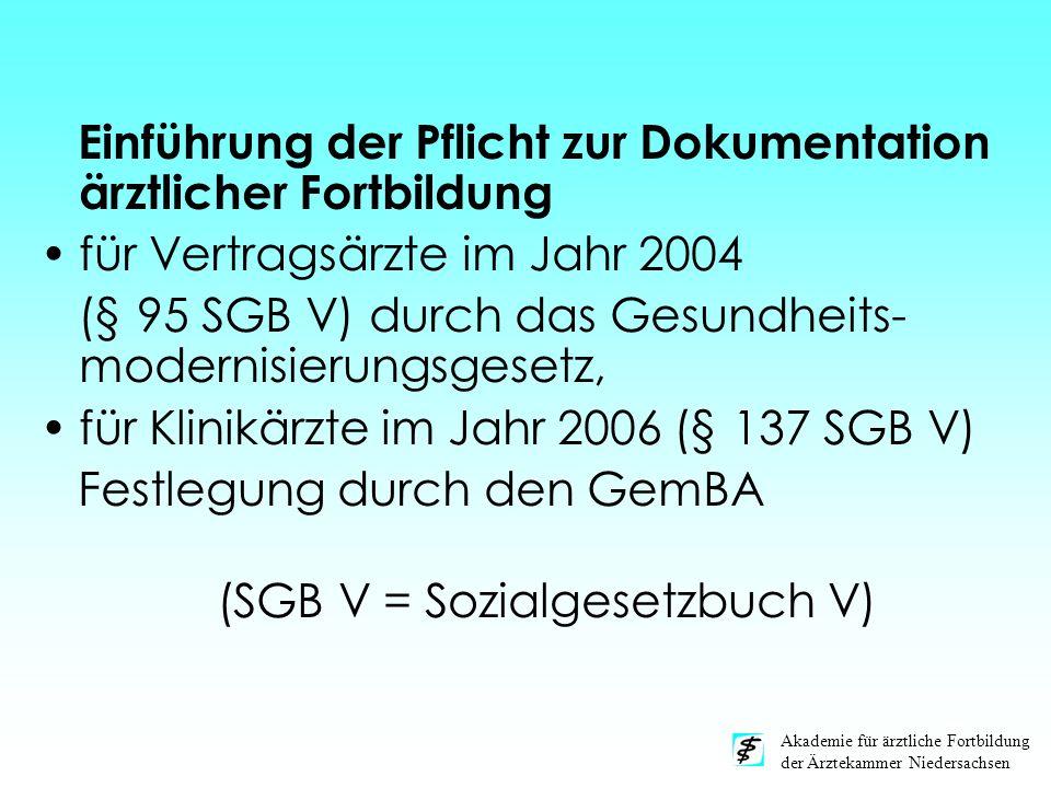 Akademie für ärztliche Fortbildung der Ärztekammer Niedersachsen Einführung der Pflicht zur Dokumentation ärztlicher Fortbildung für Vertragsärzte im