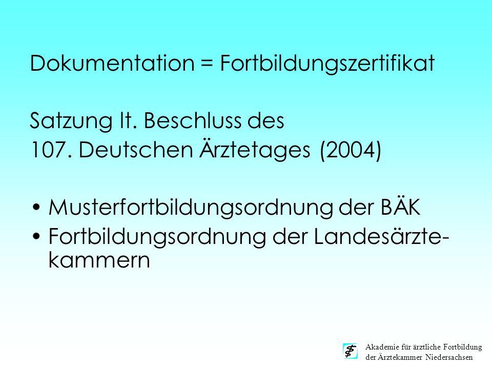 Akademie für ärztliche Fortbildung der Ärztekammer Niedersachsen Dokumentation = Fortbildungszertifikat Satzung lt. Beschluss des 107. Deutschen Ärzte