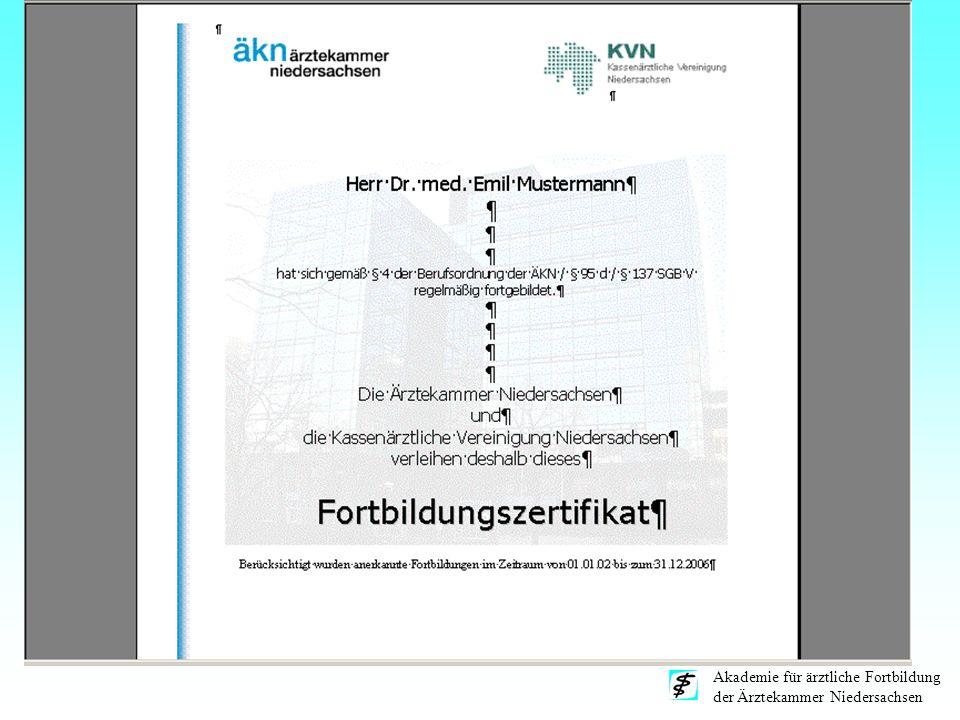 Akademie für ärztliche Fortbildung der Ärztekammer Niedersachsen