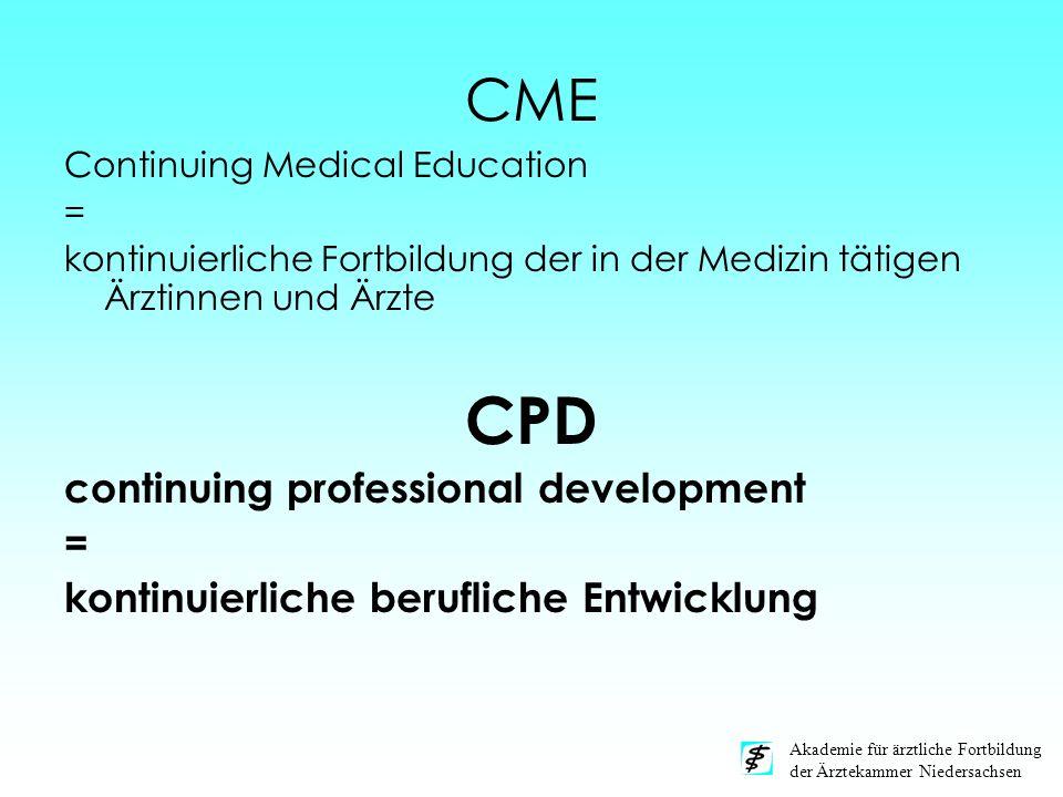 CME Continuing Medical Education = kontinuierliche Fortbildung der in der Medizin tätigen Ärztinnen und Ärzte CPD continuing professional development