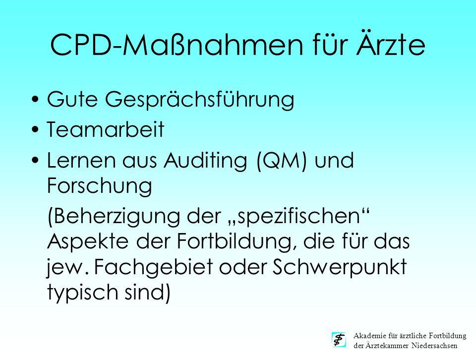 Akademie für ärztliche Fortbildung der Ärztekammer Niedersachsen CPD-Maßnahmen für Ärzte Gute Gesprächsführung Teamarbeit Lernen aus Auditing (QM) und
